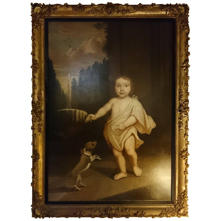 18th Century Antique Oil Painting Primitive Aristctratic Child with Dog For Sale