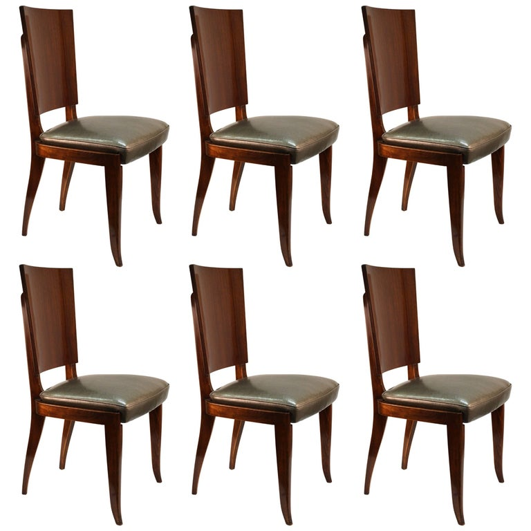 Art Deco Rosewood Dining Chairs, Set of Six