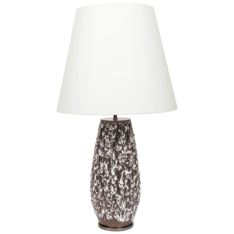 Brown and White Fat Lava Vase Converted into Lamp