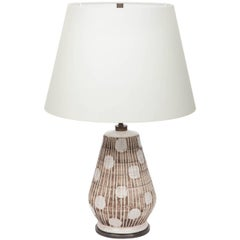 Ceramic Table Lamp in Brown and White with Graphic Dots