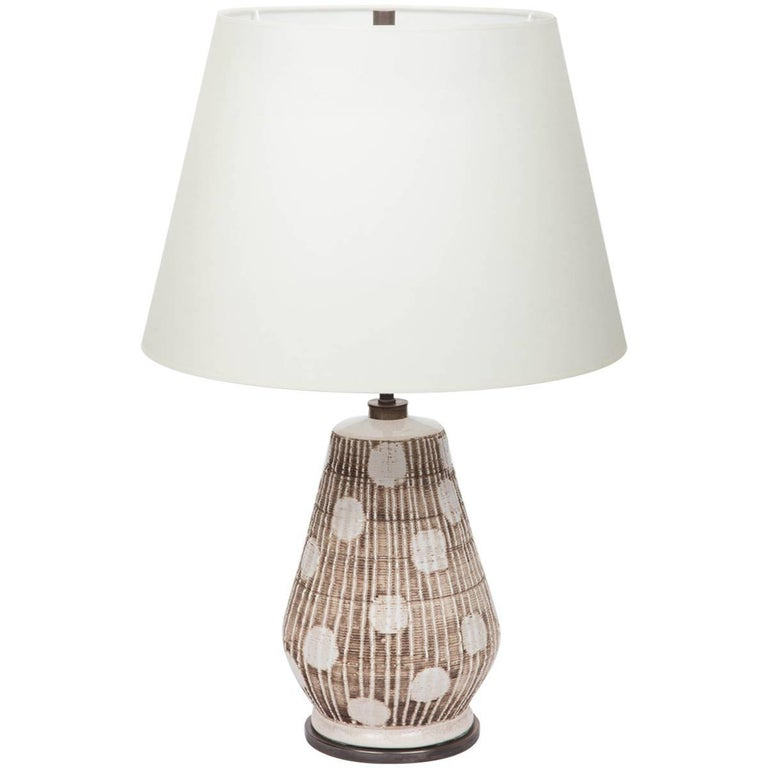 Ceramic Table Lamp in Brown and White with Graphic Dots For Sale