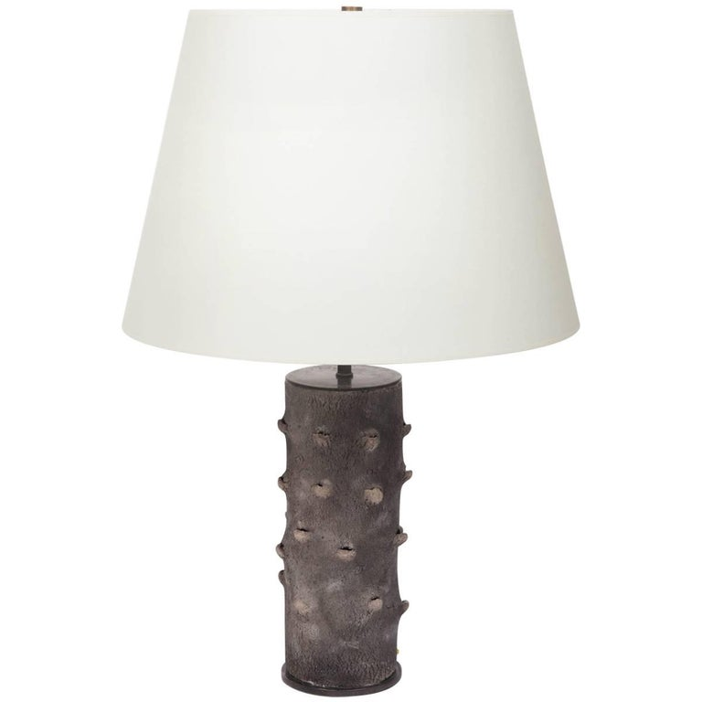 Matte Grey Table Lamp with Bark-Like Texture 1