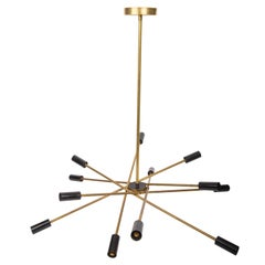 Brass and Black Sputnik Chandelier