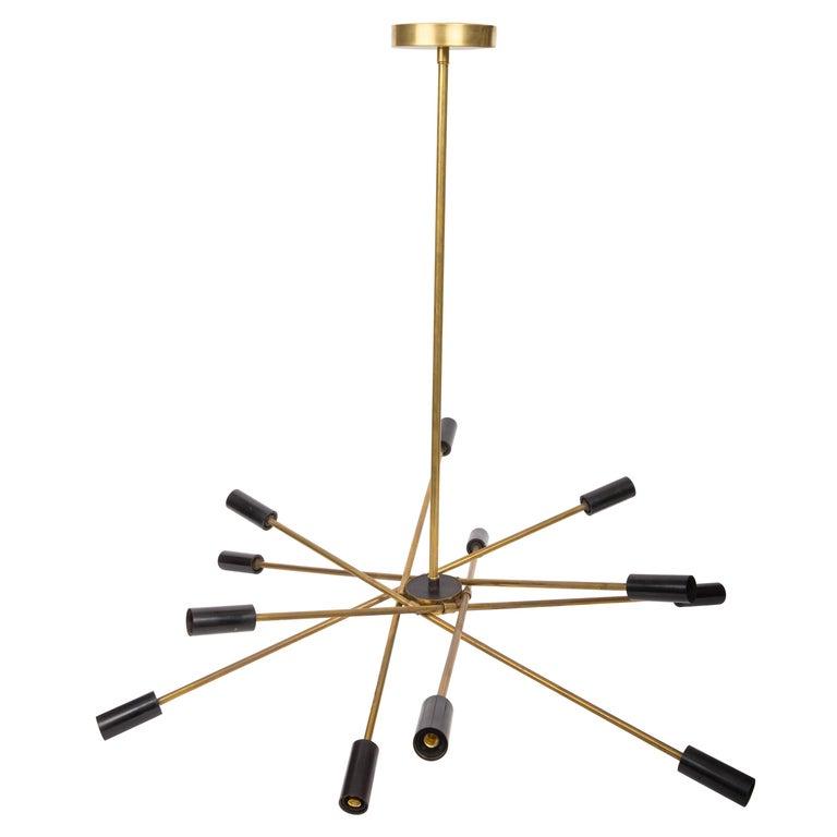 Brass and Black Sputnik Chandelier For Sale