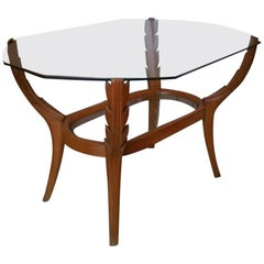 Coffee table, beech wood, top in glass, 1950 circa, Italy