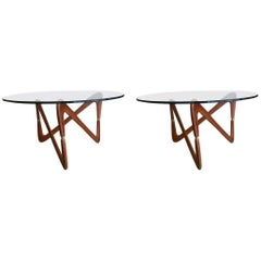 """S"" Coffee Table, Brass and Wood, Top in Glass, circa 1950, Italy"