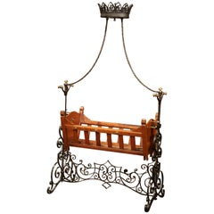 19th Century French Napoleon III Walnut and Iron Baby Craddle with Canopy