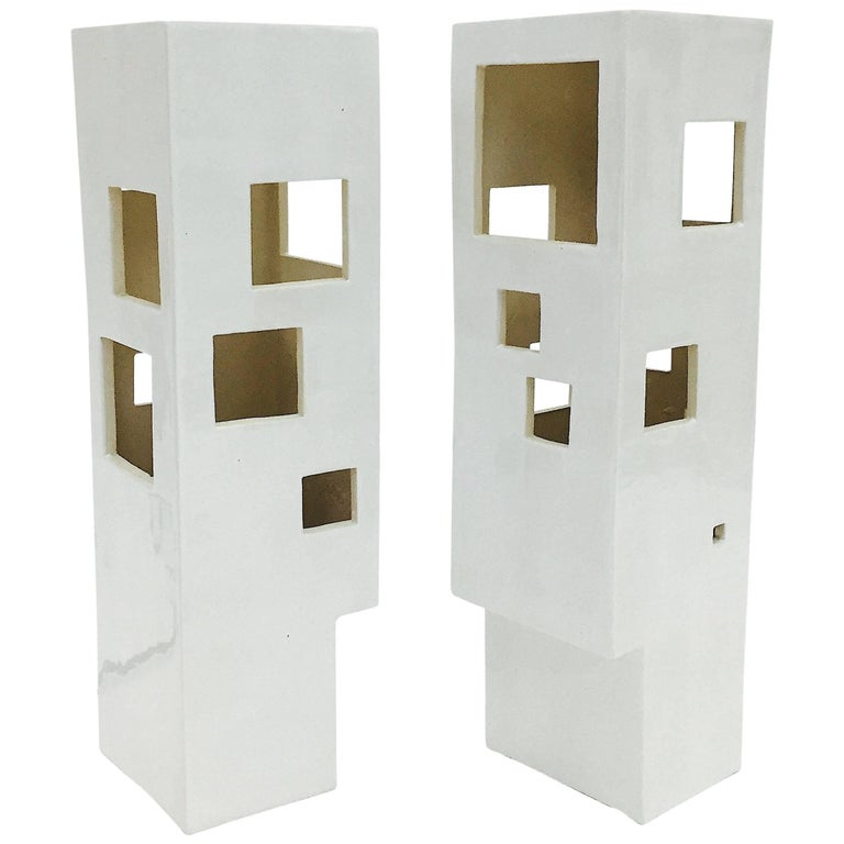 Pair of Geometric Columns Ceramic Table Lamps