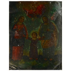 19th Century Mexican Folk Art Retablo on Metal of the Holy Family