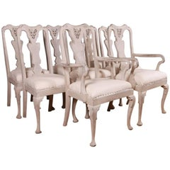 Set of Eight 19th Century Painted Swedish Dining Chairs