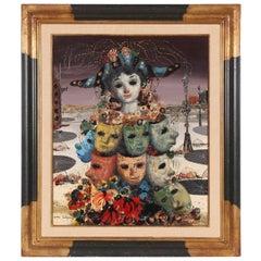 Jean Calogero, Surreal Fantasy Painting of Venetian Masks