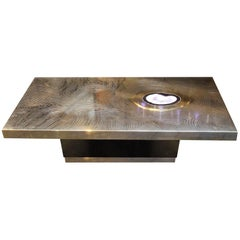 Willy Daro Style Rectangular Coffee Table in Brass and Agate Stone Inlay