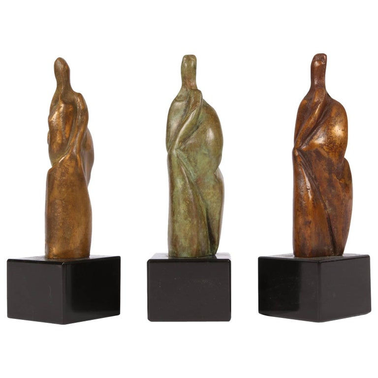 Group of Three Signed Modern Abstract Bronze Figures