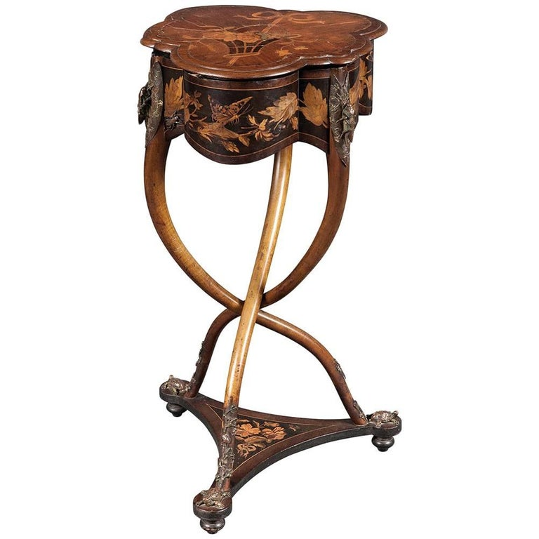 Rare French Art Nouveau Marquetry Table by Charles Guillaume Diehl, circa 1878 For Sale