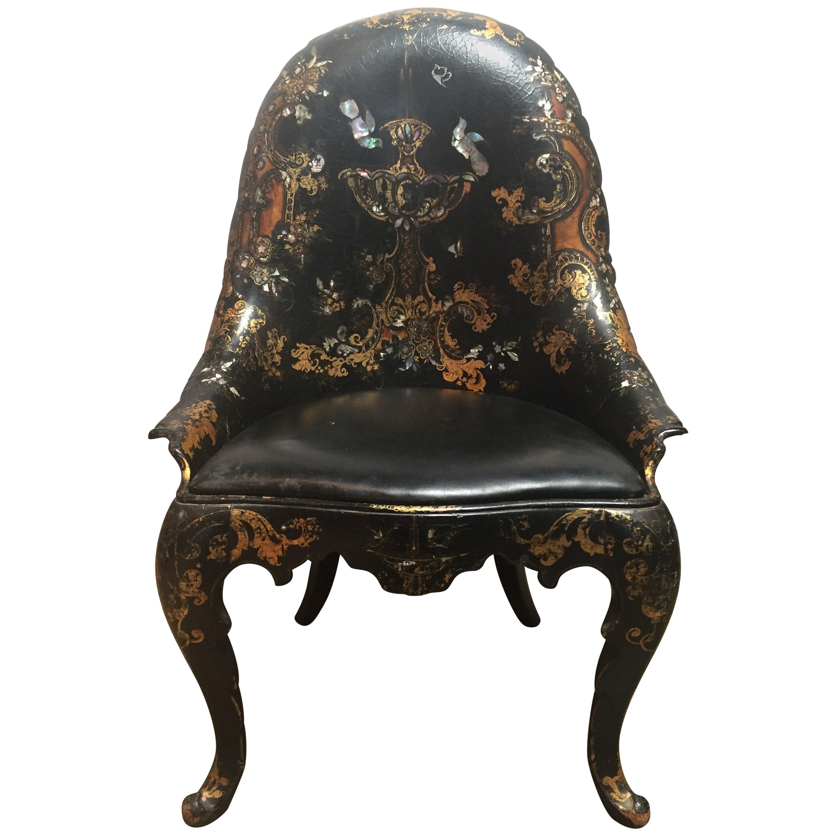 19th Century Papier Mâché Chair