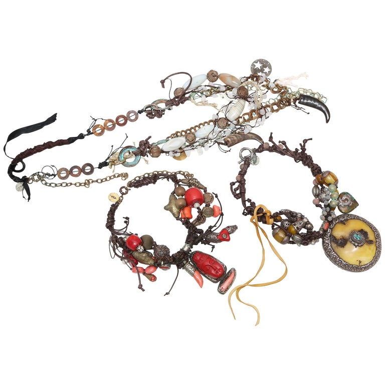 Marzia Z Jewelry Designer, Italy, Unique Necklaces, with Ethnic, Antique Symbols For Sale