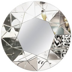 Mirror, Round, Large, Beveled, Elegant, Contemporary