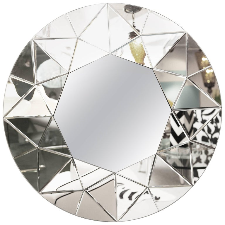 Mirror, Round, Large, Beveled, Elegant, Contemporary For Sale