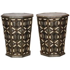 Moroccan Side Tables, Handcrafted in Morocco,metal and Faux Bone Inlay
