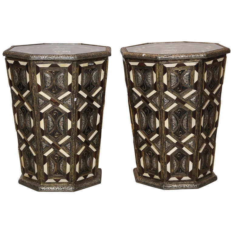Moroccan Side Tables, Handcrafted in Morocco,metal and Faux Bone Inlay For Sale