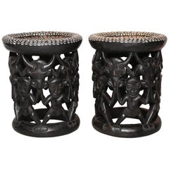 Pair of African Side Tables Extensive Woodcarving Top Inlaid Coins, Cowry Shells