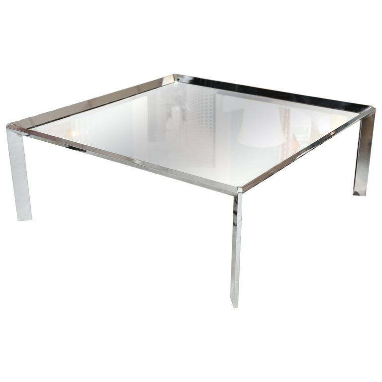 Mirror Coffee Table with Steel Edging, Contemporary, Chic, Elegant For Sale