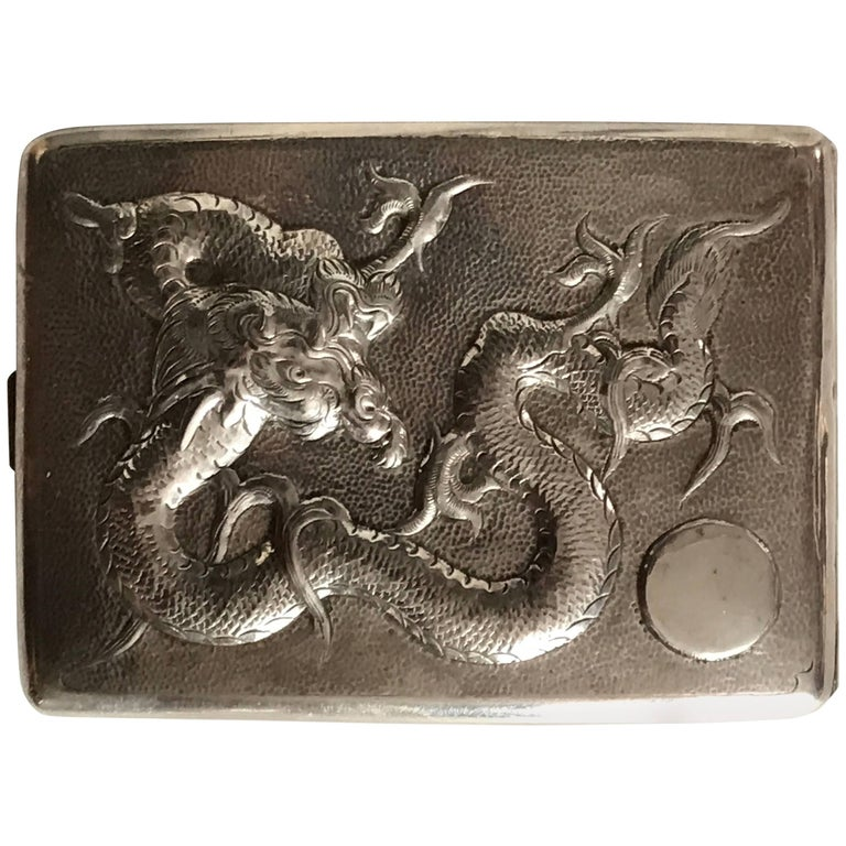 Chinese Early 20th Century Export Silver Cigarette or Card Case 90% Silver
