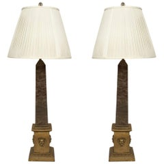 Pair of Neo-Classical Marble Obelisks Fitted as Lamps