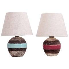 Zweier Set Keramos Art Deco Tischlampen