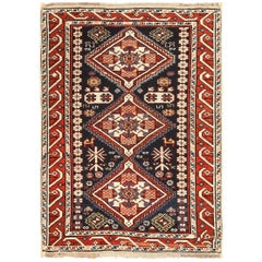 Small Running Dog Design Antique Caucasian Shirvan Rug