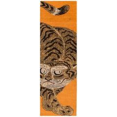 21st Century Contemporary Tibetan Orange Pictorial Tiger Rug