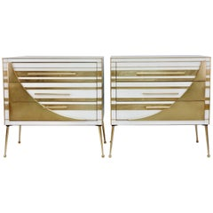 Contemporary Italian Pair of Gold Brass and White Cream Glass Chests Side Tables