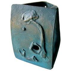 Asian Modernist Three-Sided Bronze Sculpture