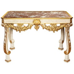 George II Style Parcel-Gilt Cream Painted Console Table