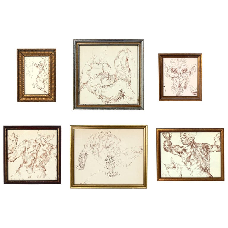 Selection of Old Master Style Figural Drawings by Ana Rosa de Ycaza For Sale