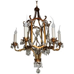French Beaded Gold Gilt Baguès Pagoda Form Six-Light Crystal Chandelier