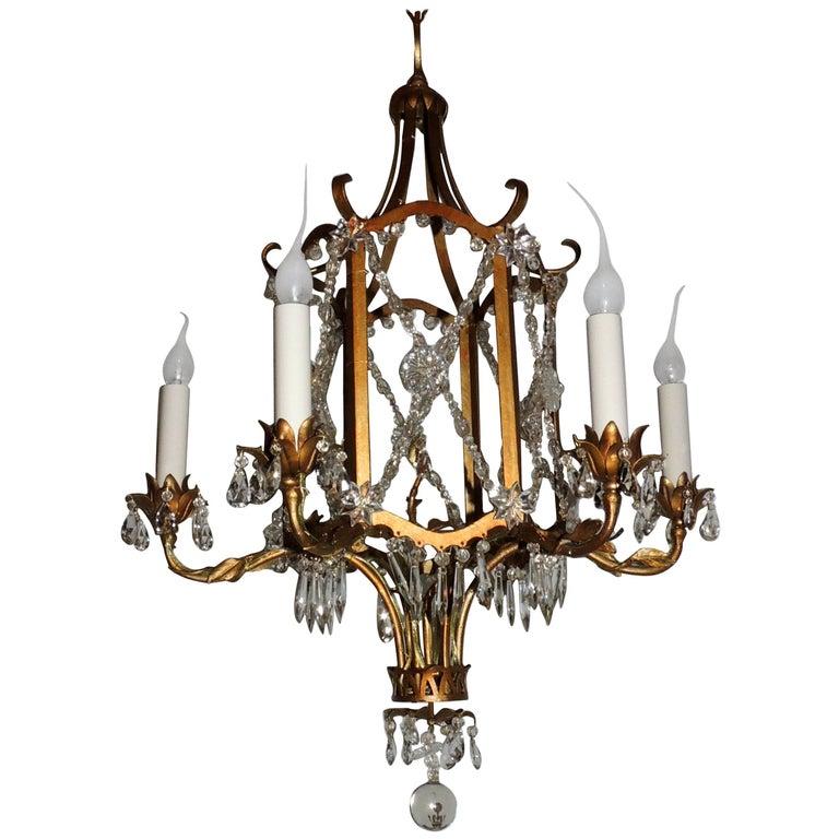 French Beaded Gold Gilt Baguès Pagoda Form Six-Light Crystal Chandelier