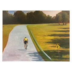 Road Warrior Bicycle Landscape Original Oil Painting