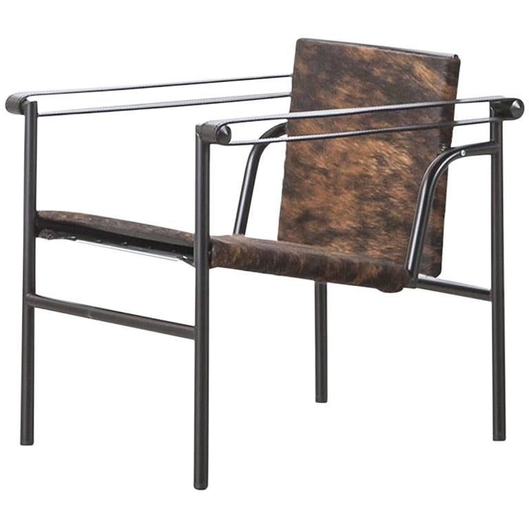 Cassina LC1 Pampas Armchair, Pampas Hairy Skin with Black Leather Armrests