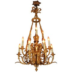 Louis XVI Doré Bronze Blue Enamel Cherub Putti Trumpet Nine-Light Chandelier