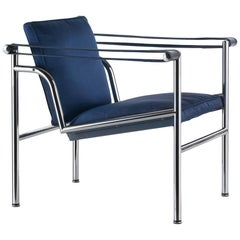Cassina LC1 Villa Church Armchair Padded Blue Satin