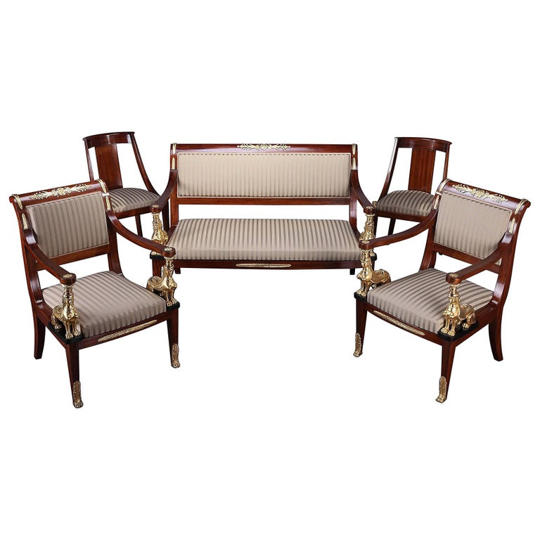 Mahogany and gilt bronze living room set in return from egypt style for sale at 1stdibs - Como tapizar sofas ...