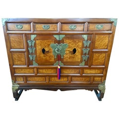 Korean Tansu Chest Maple Wood Persimmon Inlay Xi Dynasty