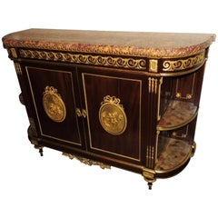 Louis XVI Marble Top French Bronze Ormolu Demilune Console Cabinet Sideboard