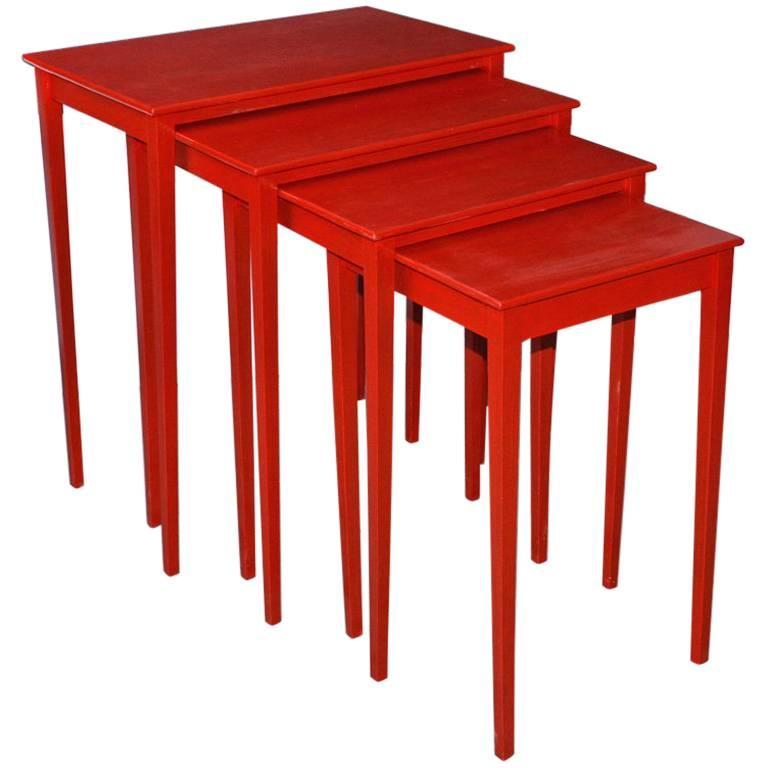Vintage Four-Piece Red Lacquer Nesting Tables For Sale