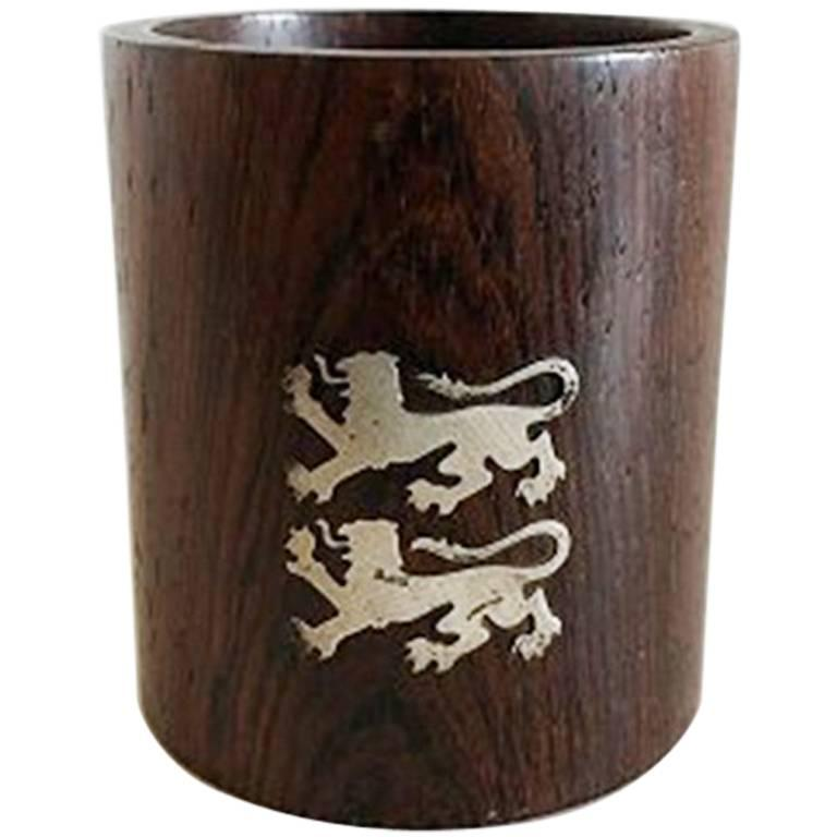 cc74e0064c301 Hans Hansen Round Cup in Rosewood with Sterling Silver Lions For Sale