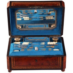 19th Century Napoleon III Burl Wood Sewing Box