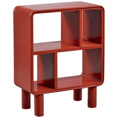 Small Art Deco Red Shelving Unit, Sweden, 1930s