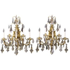 Very Fine Pair of Late 19th Century Gilt Bronze and French Crystal Sconces