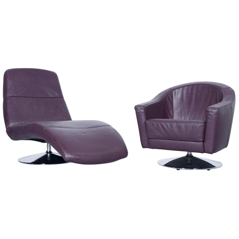 Ewald Schillig Designer Armchair Set Recliner Couch Leather Aubergine Couch At 1stdibs
